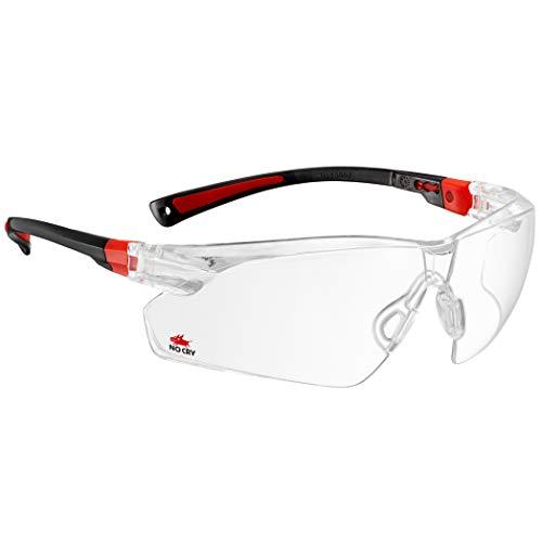 NoCry Schutzbrille mit Durchsichtigen Anti-Beschlag und kratzbeständigen Gläsern, Seitenschutz und Rutschfesten Bügeln, UV-Schutz, verstellbar, schwarz roter Rahmen
