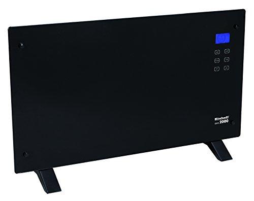 Einhell Glaskonvektor Heizung GCH 2000 (2000 Watt, 2 Heizstufen, LCD-Display, Touchscreen, Timer, Fernbedienung, modernes Design, Stand- oder Wandgerät) schwarz