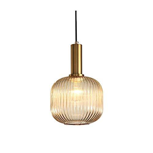HJXDtech Industrial Vintage Medium Pendelleuchte Moderner Retro-Stil Drop Deckenleuchte Hängelampe Bernstein Glas Lampenschirm mit poliertem Messing Lampenfassung