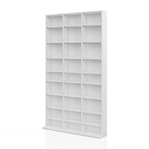 Medienregal JUKEBOX 178 x 102 cm Weiß - Regal für CD, DVD, Spiele und Cover - Standregal Wandregal Regalwand Bücherregal