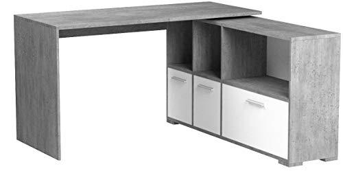 Vicco Eckschreibtisch Flex Computertisch Regal Sideboard schwenkbare Tischplatte, Griffe aus Aluminium (Beton-Weiß)