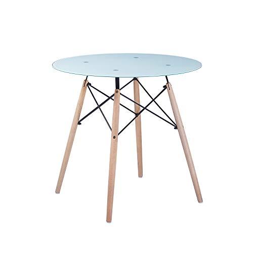 H.J WeDoo Rund Glasplatte Esstisch Buchenholz Esszimmer Tisch Küchentisch Wohnzimmertisch aus Gehärtetem Glas - Weiß matt