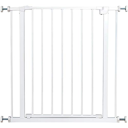 COSTWAY Treppenschutzgitter ohne Bohren, Türgitter Weiß, Schutzgitter aus Metall, Türschutzgitter Absperrgitter Klemmgitter 71x77cm
