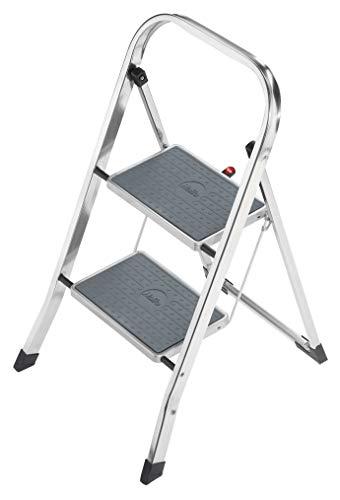 Hailo K30 StandardLine Alu-Trittleiter, 2 Stufen, Klappsicherung, besonders leicht, einfach zu verstauen, belastbar bis 150 kg