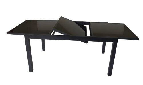 DEGAMO Ausziehtisch Torino 150/210x90cm, Aluminium + Glas schwarz