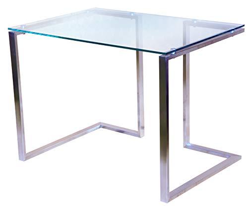 CHYRKA Bürotisch Computertisch Beistelltisch Edelstahl Schminktisch Moderne Design Glas Schreibtisch (100x60 cm)