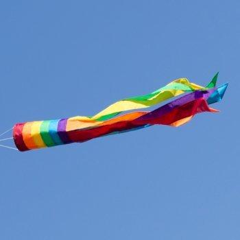 Windsack - 100 Rainbow - UV-beständig und wetterfest - Ø11cm, Länge: 100cm - inkl. Kugellagerwirbelclip (Rainbow)