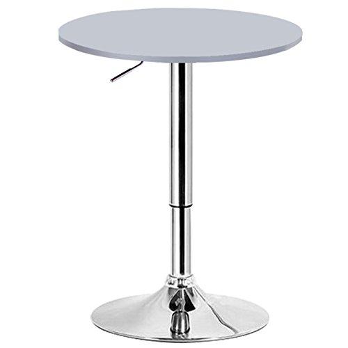 WOLTU BT02sb Bartisch Bistrotisch , Design Tisch mit Trompetenfuß , drehbare Tischplatte aus robustem MDF , höhenverstellbar , Dekor , silber