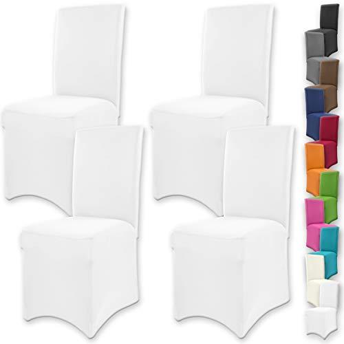 Gräfenstayn 4Stk Stretch-Stuhlhusse Henry - runde und eckige Stuhllehnen - VORTEILSPACKUNG - bi-elastische Passform mit Öko-Tex Siegel Standard 100: 'Geprüftes Vertrauen' (Weiß)
