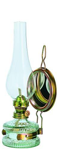 Oberstdorfer Glashütte Grosse Oellampe mit Spiegel Antikes Design Grosse Petroleumlampe mit Verziertem Gold Farbigen Dochthalter Höhe ca. 35,5 cm