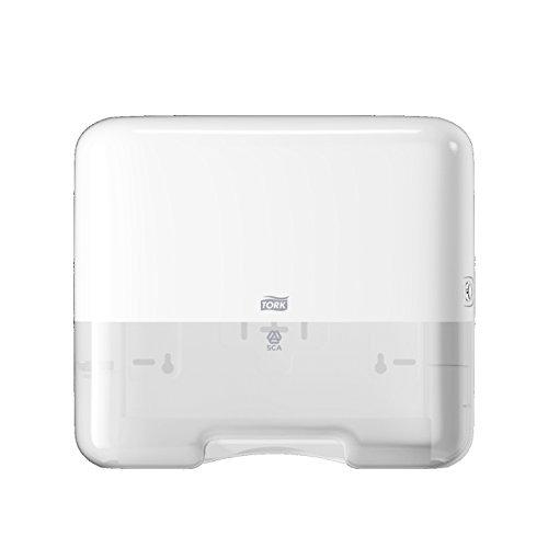 Tork 553100 Mini Spender für H3 Zickzack und Lagenfalz Handtücher im Elevation Design / Papiertuchspender für hygienische Einzeltuchentnahme in weiß