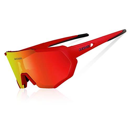 Queshark Radbrille Polarisierte Sportbrille Fahrradbrille mit UV-Schutz 3 Wechselgläser für Herren Damen, für Outdooraktivitäten wie Radfahren Laufen Klettern Autofahren Angeln Golf (Rot)