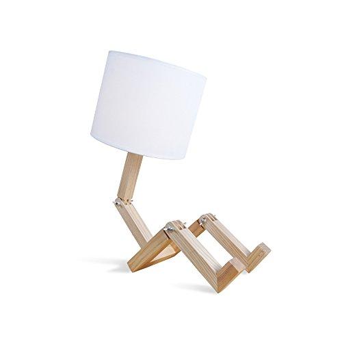 Massivholz Einfache kreative LED Schreibtisch Lampe NordicSimple Multifunktions Tisch Lampe Holz Stoff Nachttisch Lampe Abdeckung Durchmesser 20cm-E27 Glühbirne (Warmes Licht einstellbar)