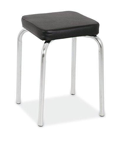 Sitzhocker Metallhocker Stapelhocker POGO 2 | Schwarz | Metall | Kunstleder