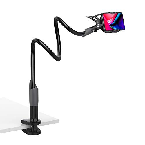 Lamicall Handy Halter für Bett, Schwanenhals Handy Halterung : Universal Flexible Lang Arm Handy Ständer für Phone 11 Pro XS Max XR X 8 7 6S Plus, Samsung S10 S9 S8 S7, 4-6,5 Zoll Smartphone -Schwarz
