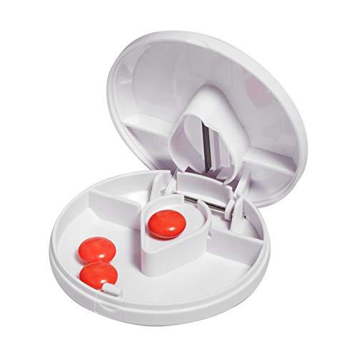 Tablettenteiler rund mit Aufbewahrungsfach und Edelstahl Klinge