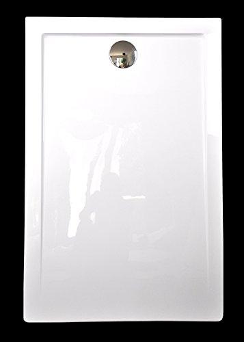 Art-of-Baan - Extra flache Duschtasse, Duschwanne aus Acryl, glatt Weiß Hochglanz; 140x80x3,5cm inkl. Ablaufgarnitur