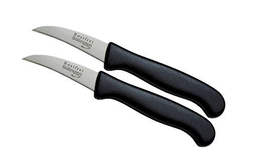 Schwertkrone Messer-Set gerade gebogen/Gemüsemesser scharf Küchenmesser Schälmesser Allzweckmesser/Germany rostfrei 3'/Handabzug - Dünnschliff - superscharf - spülmaschinengeeignet