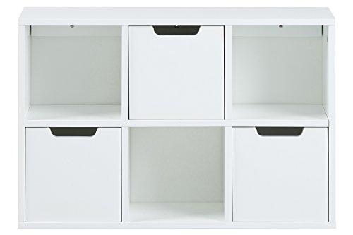 AC Design Furniture 60597 Regal Mariela, 6 Fächer, 3 Stück Schubkasten, Holz, 58 x 39 x 18 cm, weiß
