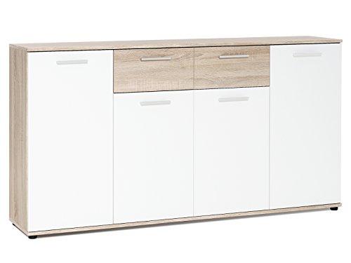 Sideboard Beistellschrank Anrichte Standschrank Kommode Highboard 'Jacklin II' Sonoma-Eiche/Weiß