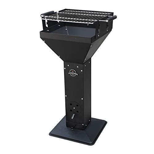 Jamestown TED Holzkohle-Säulengrill mit Stahlsockel inkl. Lüftungsschieber für optimale Regelung der Belüftung | Hochwertiger Grill aus Edelstahl mit robustem Standfuß