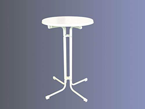 Lönne Stehbiertisch weiß (klappbar) 85 cm, mit Schirmloch