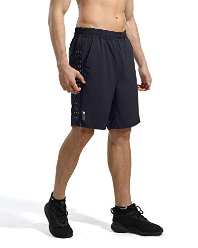 7 ZOll Athletic Running Shorts für Kurze Hosen Herren - Schnelltrocknende, leichte Turnhose für das Training im Freien beim Tennis und Basketball L Schwarz