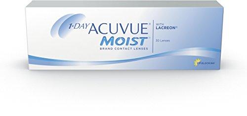 ACUVUE MOIST 1-Day Tageslinsen für empfindliche Augen & Allergiker - Tageskontaktlinsen mit -2,50 dpt und BC 8.5 - UV Schutz & hoher Tragekomfort - 30 Linsen