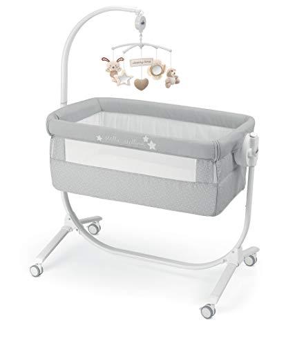 CAM 2 in 1 Beistellbett & Babywiege CULLAMI praktisch & schön | Babybett 8 Höhenpostionen | Roll- & Wiegefunktion | hochwertige Materialien - Made in Italy (Sterne grau)