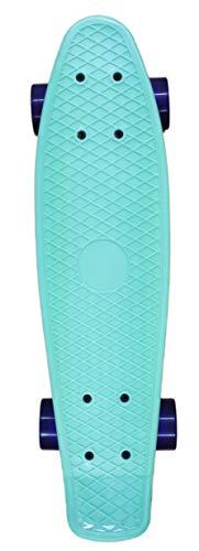 For Sport Skateboard 55 cm Mini Cruiser ABEC 7 Kugellager Retro Stil Rollen Komplett fertig montiert (Green)