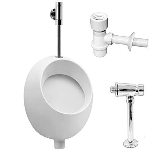 VBChome- Set: Urinal Zulauf Oben Weiß Modern Hochwertig Keramik Pinkelbecken senkrecht Pissoir Pico + Spülventil Urinalspüler Druckspüler HYDRO H + Siphon Flaschensiphon A50132