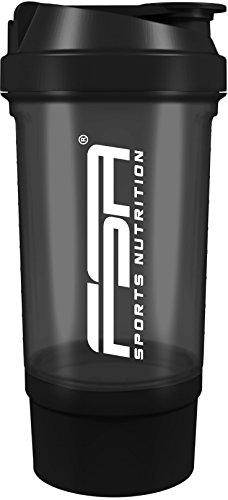 Protein Shaker 500ml mit Pulverfach, Messskala, Drehverschluss der deutschen Profisport Marke FSA Nutrition | frei von BPA