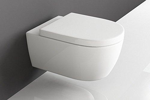 Design Hänge WC Spülrandlos Toilette inkl. WC Sitz mit Softclose Absenkautomatik + abnehmbar kurz