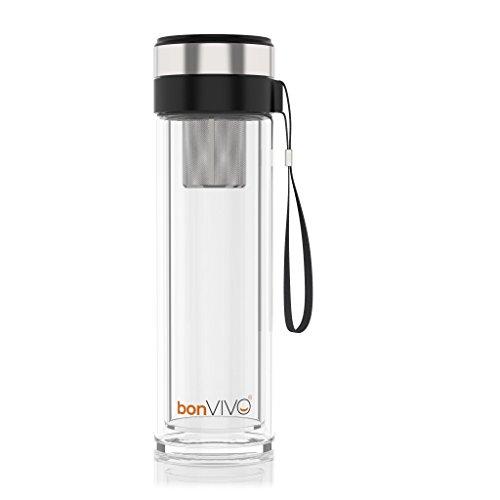bonVIVO VitaliTEA Glas-Trinkflasche mit Thermo-Funktion und Tea-Filter, 0,45 Liter, in Schwarz