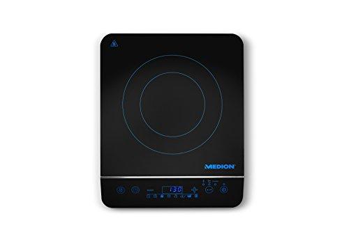 Medion MD 17595 Induktionskochplatte (2000 Watt Induktionsleistung, automatische Topferkennung, energiesparend) schwarz