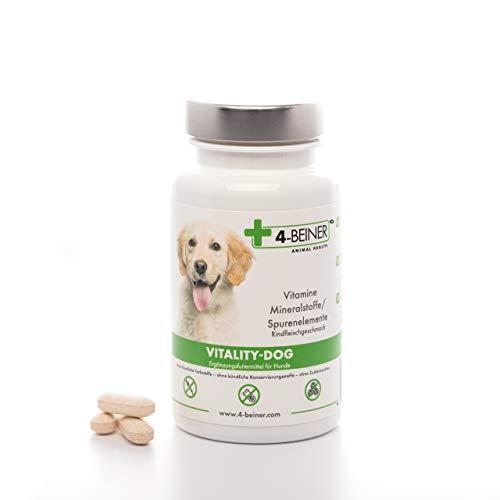 4-Beiner VITALY-Dog, 12 Multi Vitamine, Vitamin B Komplex, Vitamin A, C, E, D + E, Folsäure & Biotin für Hunde + Mineralstoffe Zink, Eisen, Mangan etc, auch ideal beim BARFEN, 100 Tabletten