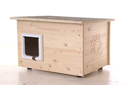 running rabbit Katzenhaus - Katzenhütte mit Katzenklappe, Boden und Wände wärmegedämmt