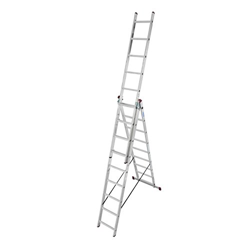 KRAUSE Corda Alu VielzweckLeiter 3x7 3x9 3x11 Sprossen Stehleiter Schiebeleiter, Sprossenzahl:3 x 9 Sprossen