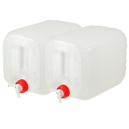 2x Wasserkanister 10L Trinkwasserkanister Behälter mit Deckel und Ablasshahn