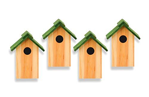 4er Set Nistkasten Vogelhaus Vogelhäuschen aufhängbar aus Fichte stabil und wetterfest mit abnehmbaren Dach - für alle Singvögel und Wildvögel