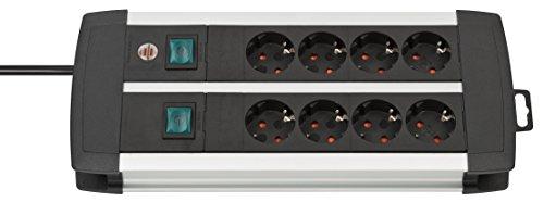 Brennenstuhl Premium-Alu-Line, Steckdosenleiste 8-fach - Steckerleiste aus hochwertigem Aluminium (mit 2 Schaltern für je 4 Steckdosen und 3m Kabel) Farbe: schwarz