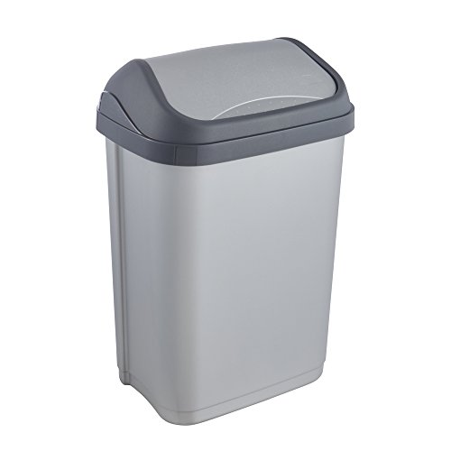 keeeper Abfallbehälter mit Schwingdeckel, 10 l, Swantje, Silber