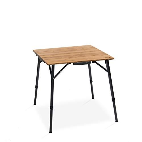 Qeedo Kimmy S, Campingtisch mit Bambus-Tischplatte, 70 x 70 cm, Höhenverstellbar