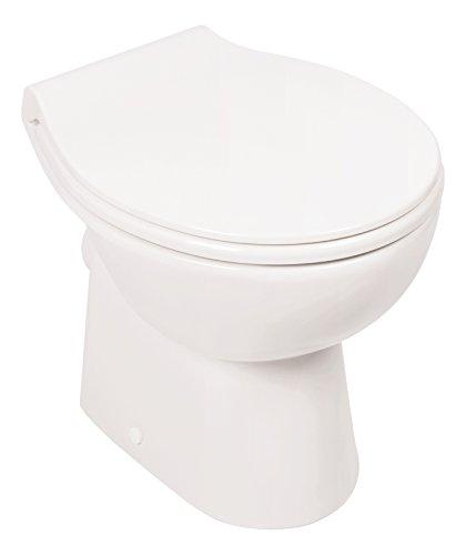 Stand-WC | Spülrandlos | Inklusive WC-Sitz | Tiefspüler | Abgang waagerecht | Weiß | Toilette | Spülrandloses WC | Klo | Toilettensitz | Stand-Wc | Design | Keramik | Modern | Hygiene