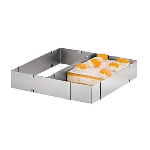 axentia Tortenring verstellbar - Backrahmen eckig - Kuchenring hoch, für Blech-Kuchenrahmen mit Teiler - Backrand aus Edelstahl - Dekorierrahmen für Kuchen & Torten