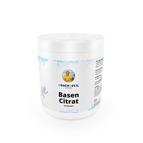 Coach Cecil Basencitrat für 30 Tage - (Made in Germany Multivitamin Basenpulver in der Geschmacksrichtung Wassermelone mit Vitamin D, C, K2, Calcium, Kalium, Magnesium & Camu Camu-Extrakt)