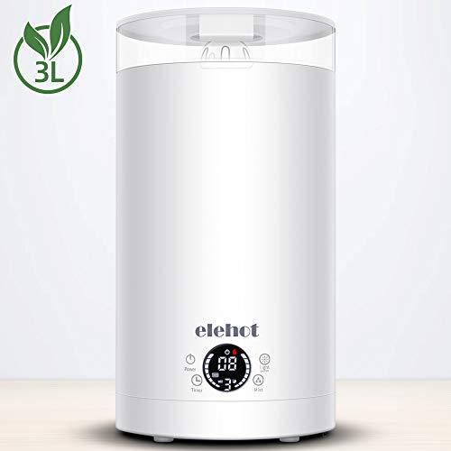 Luftbefeuchter Ultraschall 3L Humidifier 12 Stunden Timer 7 Farben Nachtlicht 2 Düse Raumluftbefeuchter für Schlafzimmer Büro von ELEHOT