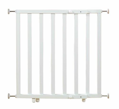 roba Türschutzgitter zum Klemmen, Schutzgitter weiß lackiert, Klemmgitter mit variabler Breite 63-114 cm, Tür- und Treppengitter für Kinder und Haustiere