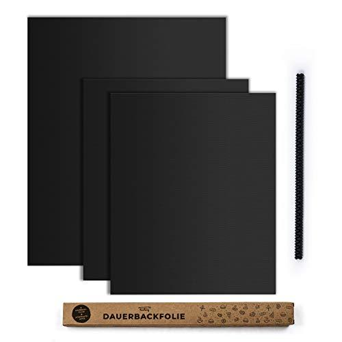 tastory - Schwarze hochwertige Dauerbackfolie für Backofen - backpapier wiederverwendbar, Dörrfolie spülmaschinenfest, Backfolie zuschneidbar 40x33cm und XXL 50x40cm
