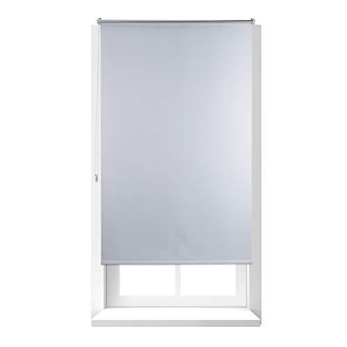 Relaxdays Thermo Verdunklungsrollo, Hitzeschutz, Fenster Seitenzugrollo, Klemmfix ohne bohren, 100x160, Stoff 96cm, weiß